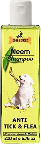 Dogz & Dudez Dogs and Cats Shampoo Anti Tick & Flea   Organic Natural Neem & Lemongrass ● Anti Itching, Insect Repell...