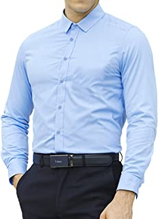 LOCALMODE Men's Slim Fit Cotton Easy Care Business Shirt Casual Solid Long Sleeve Button Down Dress Shirts
