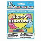 Unique Party 5160 - Ballons Anniversaire 'Happy Birthday' aux Couleurs Assorties, Paquet de 15