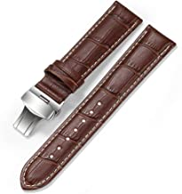 iStrap Watch Band Deployment Buckle Calf Leather Padded Replacement Strap 18mm to 24mm