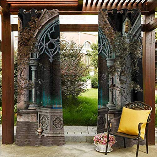 ScottDecor Gothic Quality Curtains Gazebo Garden Furniture House Mystical Patio with Enchanted Wishing Well Ivy on Antique Gateway to Magical Forest Grey Teal 112' W by 95' L(K284cm x G241cm)