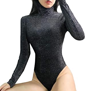 maweisong 女性の長袖ハイネックボディスーツシャイニング