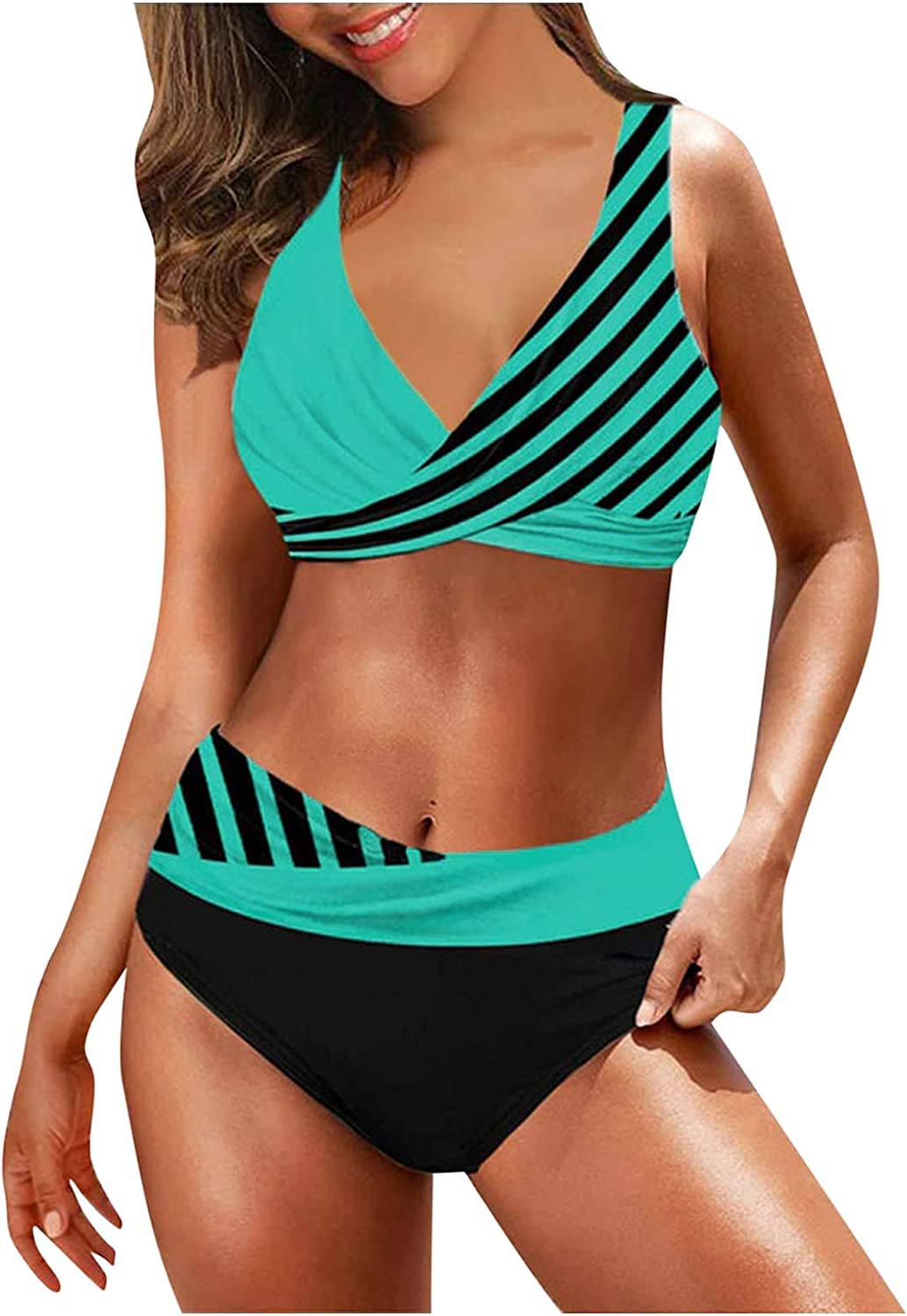 BEUU Sexy Swimsuits for Women Tummy Control Swimwear Summer Athletic Two Piece Tankini Boy Shorts Bathing Suits