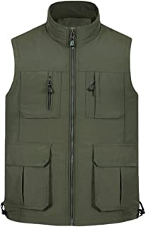 Mens Stand Collar Mesh Lining Waistcoat Multi-Pocket Vest Outdoor Photography Camping Hunting Fishing Bodywarmer Gilet