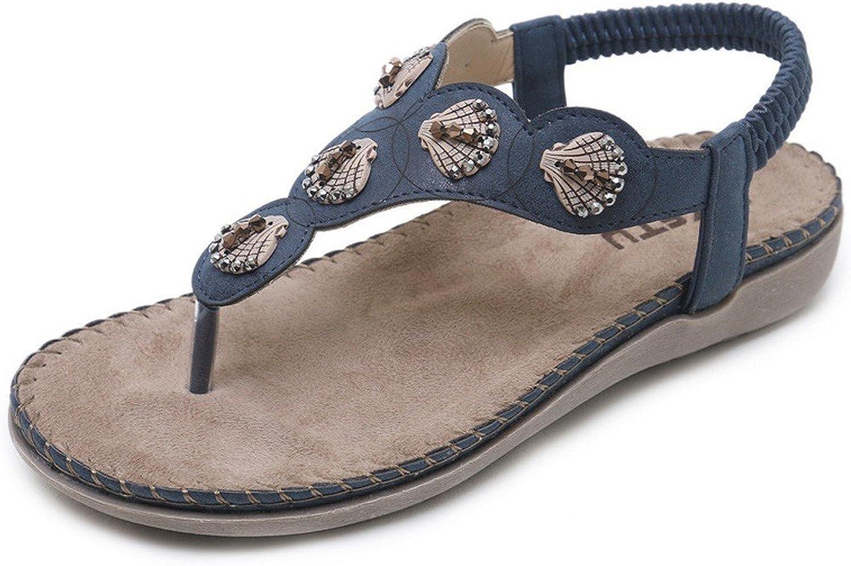 JiYe Women's Bohemia Summer Sandals T-Strap Beach Flat Casual shoes