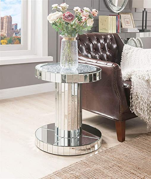 Acme Furniture End Table In Mirrored And Faux Stones