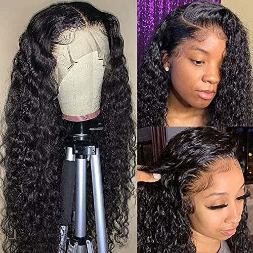 Alibeauty HD Transparent Lace Front Wigs Human Hair for Black Women 180% Density Brazilian Water Wave Human Hair Wigs Pre Plucked Hairline with Baby Hair(18 Inch)