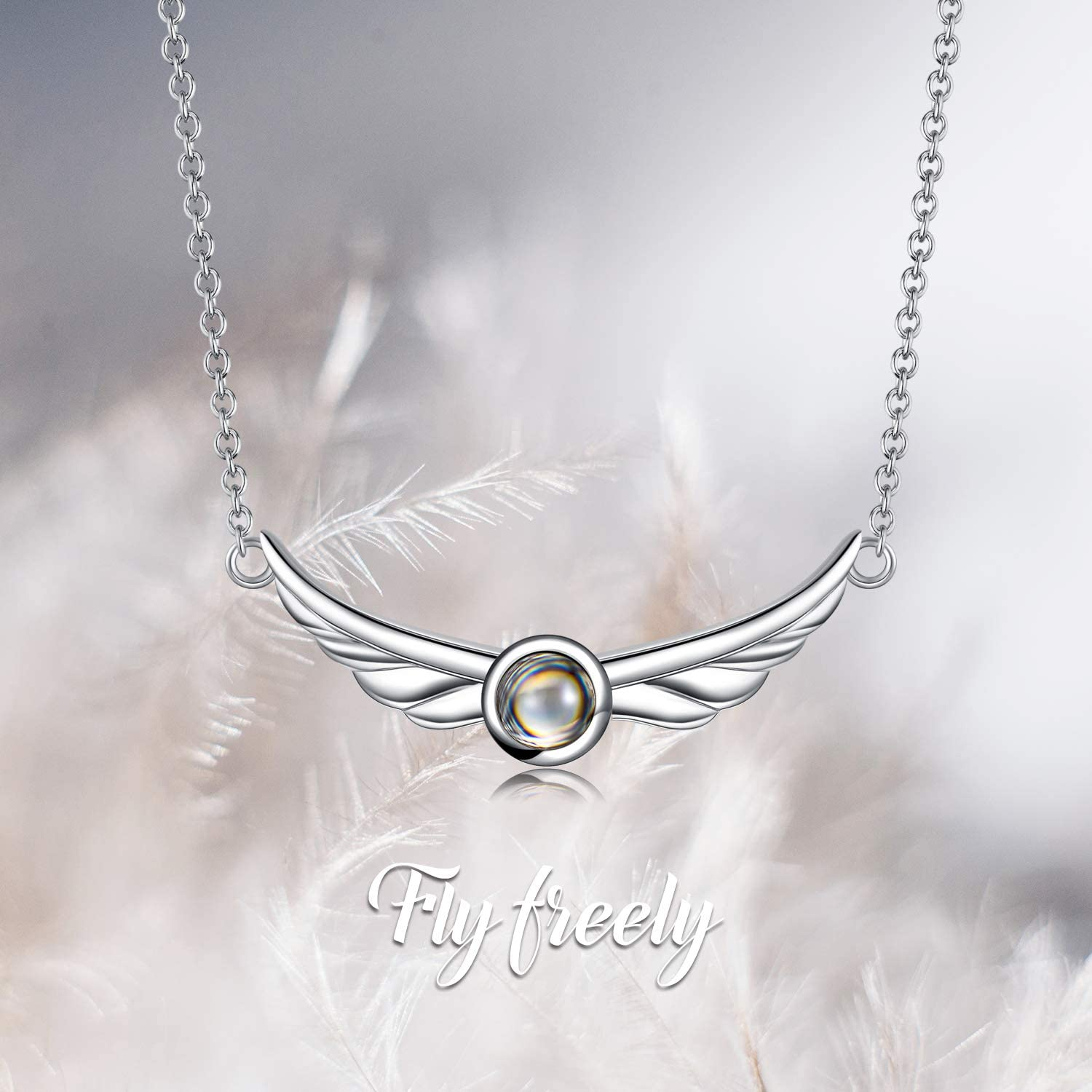 Evil Eye Wings Snake Jewelry for Women Birthday SOULMEET 925 Sterling Silver I Love You Necklace 100 Languages