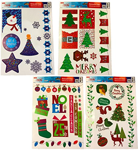 FLOMO Christmas Static Removable Window Cling Decorations- 2 Large Sheet Sets Featuring Let It Snow, Snowmen, Snowflakes, Reindeer and More (Set of All 4)