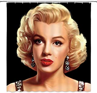 AMNYSF Marilyn Monroe Shower Curtain Sexy Woman with Golden Hair Movie Star Portrait Decor Black Fabric Bathroom Curtains,70x70 Inch Waterproof Polyester with Hooks