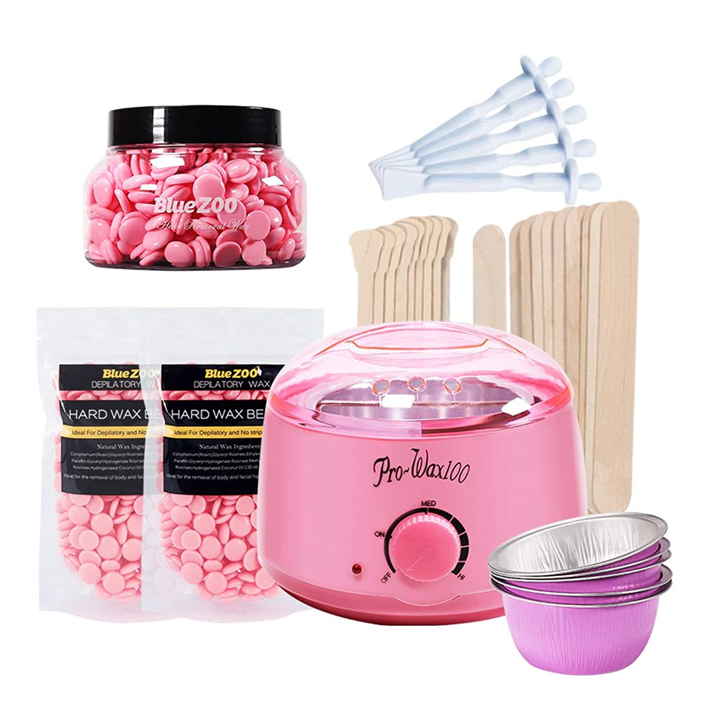 Lebeaut Blue ZOO 7-in-1 Hair Removal Depilatory Set Wax Bean Warmer Heater Machine with Hard Wax Beans & Hair Removal Stick & Melting Wax Bowls