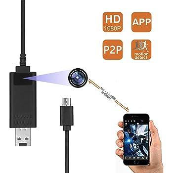 P2P隠しカメラ 1080P高画質超小型カメラ USBデータラインスパイカメラ 監視録画 動体検知 自動循環撮像 防犯カメラ 盗撮 日本語取扱IOSとAndroid対応 10メートル信号安定性