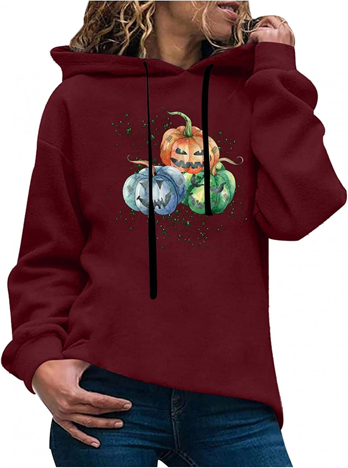 AODONG Womens Hoodies, Hoodie for Women Pumpkin Lantern Graphic Printed Long Sleeve Shirts Pullover Plus Size Fall Tops