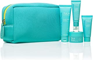 TULA Probiotic Skin Care On the Go Best Sellers Travel Kit | Facial Cleanser, Day & Night Moisturizer, Sugar Scrub & Face ...