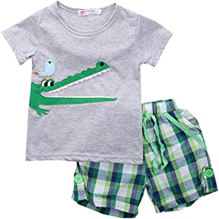 ALLAIBB Kids Boys 2Pcs Summer Short Sets Cartoon Print T-Shirt+Plaid Shorts Outfit