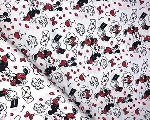 Mickey Mouse/Minnie Mouse Love Hearts Valentines Day Kiss 100% algodón, medio metro, tela artesanía, costura de regalos