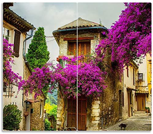 Wallario Herdabdeckplatte/Spritzschutz aus Glas, 2-teilig, 60x52cm, für Ceran- und Induktionsherde, Malerische Stadt in der Provence mit bunten Blumen