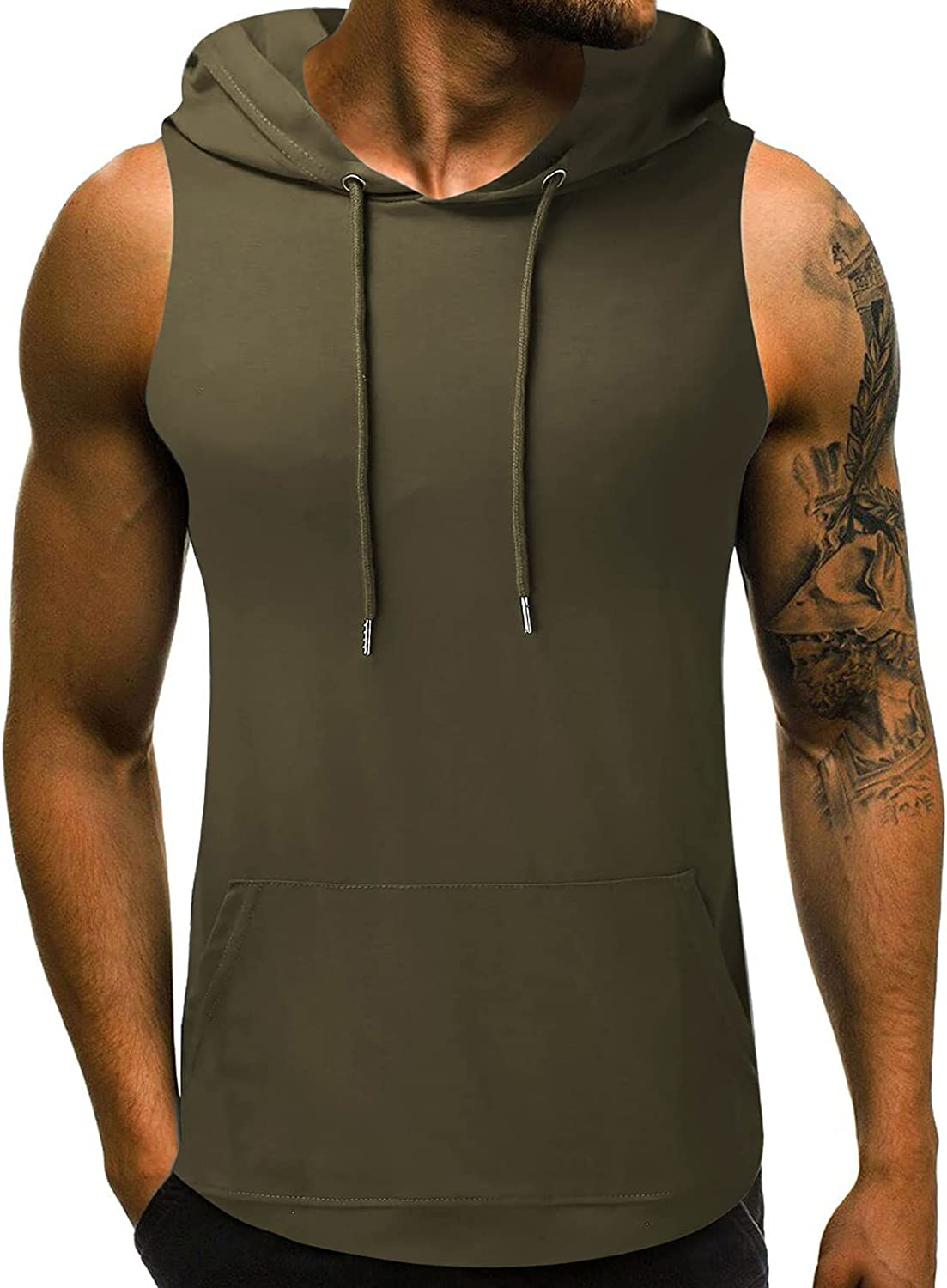 Fanteecy Mens Max 73% OFF Tank Top with Hood Wholesale Pocket Gym Sleev Hoodie Workout