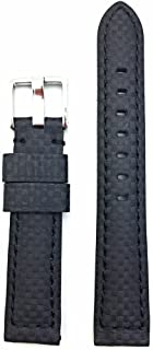 18mm Black Carbon Fiber Leather Watch Band   High Performance, Heavy Duty, Water Resistant, Medium Padded Replacement Wrist Strap That Brings New Life to Any Watch (Mens Standard Length)