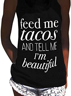 Big Wintialy Womens Feed Me Tacos Letter Print Sleeveless Tank Tops