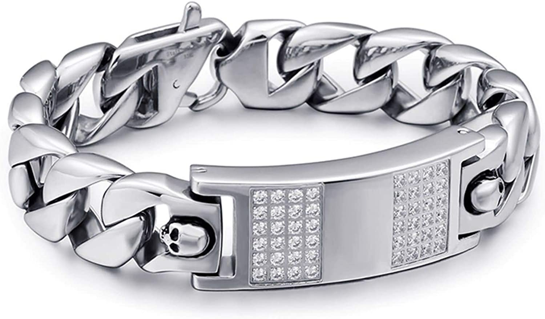 Wholesale Epinki Stainless Steel Men Chain Elegant Silver Cubic Zirconia Bracelet