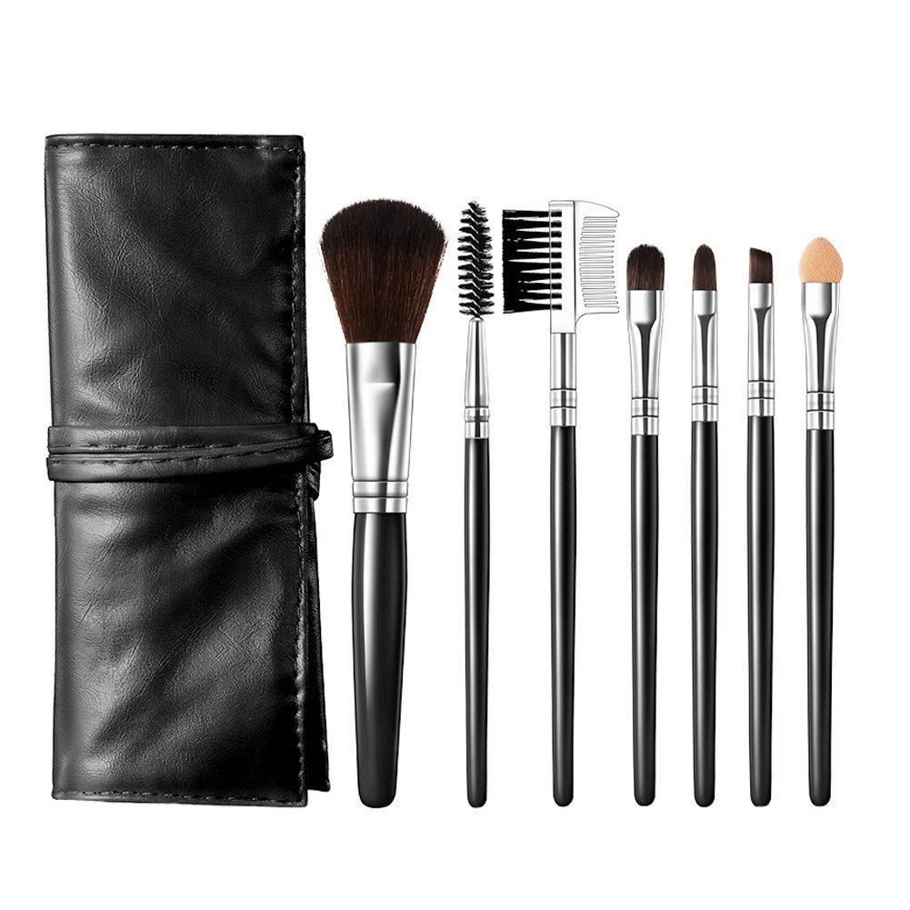 Morbuy Pincel de Maquillaje, Brochas y Pinceles de Maquillaje con Mango de Bambú Juego de Cepillo de Maquillaje Profesional para Maquillar Incluido el Estuche 7 Unidades (Negro): Amazon.es: Hogar