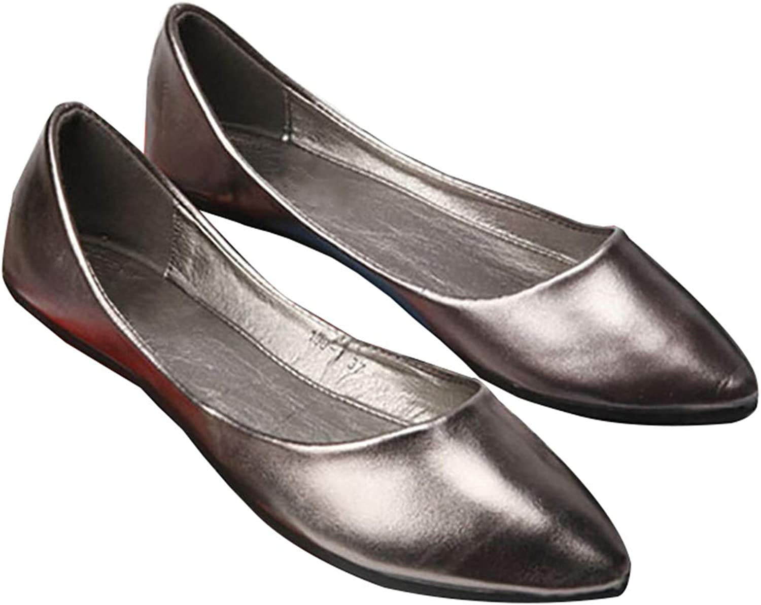Owen Moll Women Flats, Classic Solid Metal color Shallow Mouth Ballet Work shoes