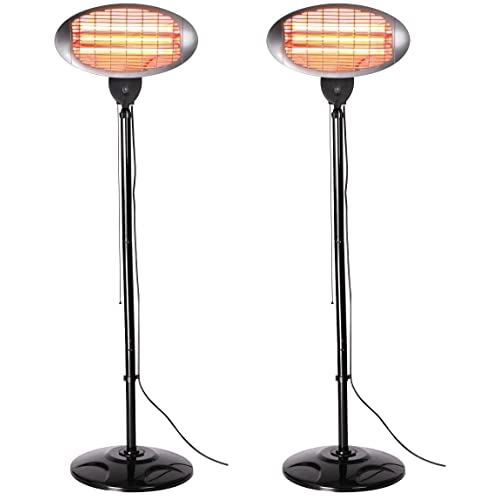 Set of 2 Firefly 2kW Outdoor Freestanding Electric Quartz Bulb Garden Patio Heaters - 3 Power Settings (Set of 2 Black FreeStanding Heaters)