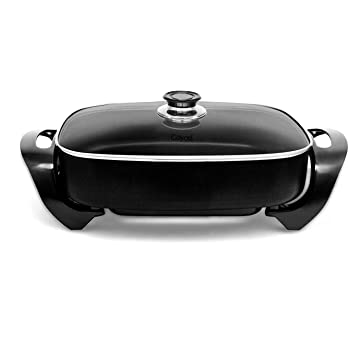 """Caynel Professional Aluminum Non-stick Electric Skillet Jumbo 16"""" x 12""""x 3"""",with Glass Lid, 16 Inch, Black (Black)"""