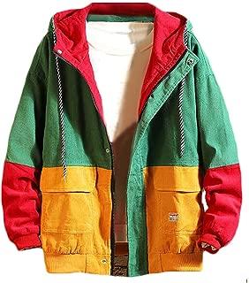 Wofupowga Mens Color Block Corduroy Hooded Loose Washed Pocket Outwear Jacket