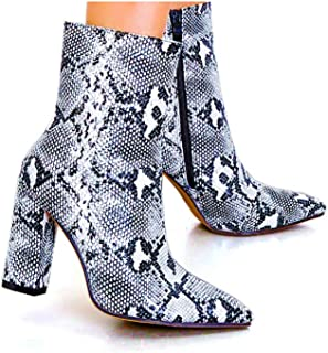 Womens Pointed Ankle Boots with Block Heels in Snake Print Bootie