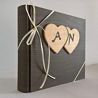 Album fotografico innamorati carta effetto legno + cuori legno e iniziali personalizzabili per foto anniversario nozze mat...