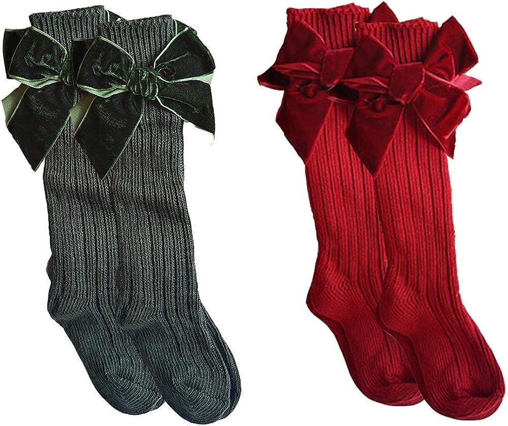 Baby Girls Knee High Socks Newborn Toddlers Bow Knit Socks Tube Ruffled Uniform Stockings