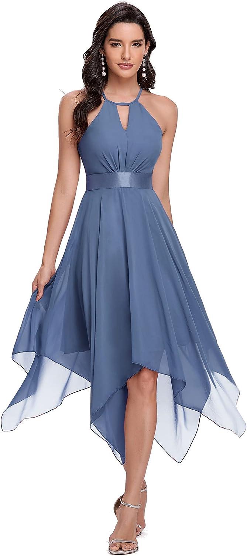 Ever-Pretty Women's Halter Short Chiffon Ruched Irregular Bridesmaid Dress Evening Dress 0126