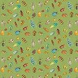 Blank Textiles Insektenstoff – Insekten Käfer grün –