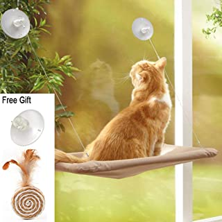 ZALALOVA Cat Window Perch, Cat Window Seat Bed Hammock Space Saving Design with 1Pc Funny Cat Toys 1Pc Extra Suction Cup Cat Shelves All Around 360° Sunbath Holds Up to 50lbs for Any Cat Size