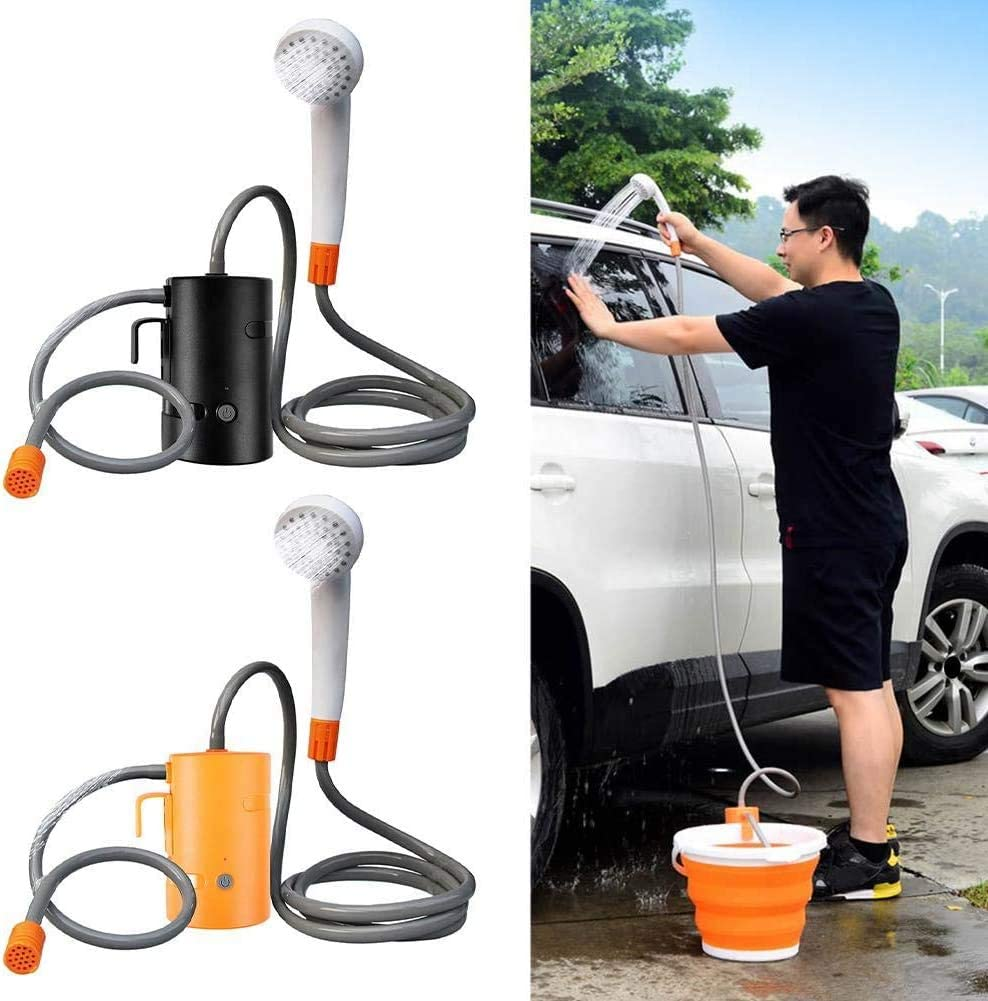 NANDAN Portable Outdoor Shower Set,Handheld Electric Camping Shower,USB Rechargeable 4200Mah Lithiumbattery Powered Shower Pump IPX7 Waterproof for Utdoor Travel Car Shower,Black