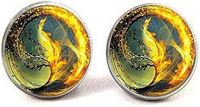 Divergent Inspired - Brown Background - Insurgent - sea Tsunami Glass Cufflinks,Divergent Cufflinks