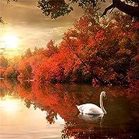 lfeey 10x 10ftファンタジー湖畔秋景色の写真の背景カラーリングFall Red Tree Leaves Bushホワイト白鳥の湖で背景写真写真ブース小道具
