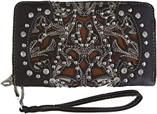 Ladies Ridem Cowgirl Zippered Wristlet Wallet Floral Cutouts Coffee