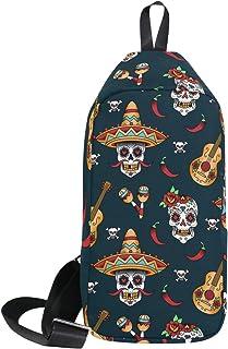 DragonSwordlinsu COOSUN - Mochila bandolera con diseño de calavera mexicana, ligera, casual, para hombres y mujeres