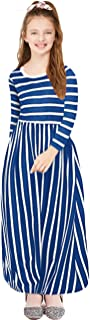 KYMIDY Girls Sleeveless Maxi Dress Kids Summer Casual Striped Sundresses for Girls 6-12 Years