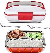 ZOUJUN Chauffage électrique Gamelle, portable Bento repas chauffage inoxydable en acier Prise de chauffage Contenant à pro...