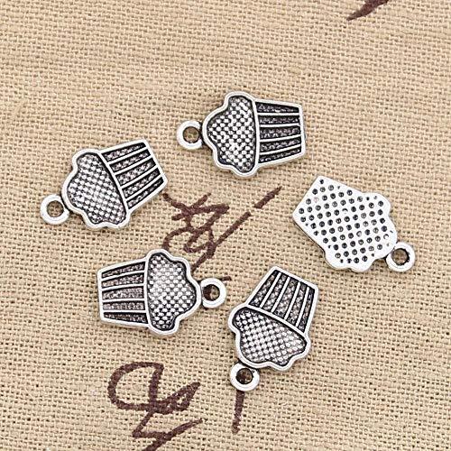 WANM 15Pcs Charms Cupcake EIS 15X10Mm Antike Herstellung Anhänger Fit Vintage Tibetan Silber Farbe DIY Handmade Schmuck Legierung Anhänger