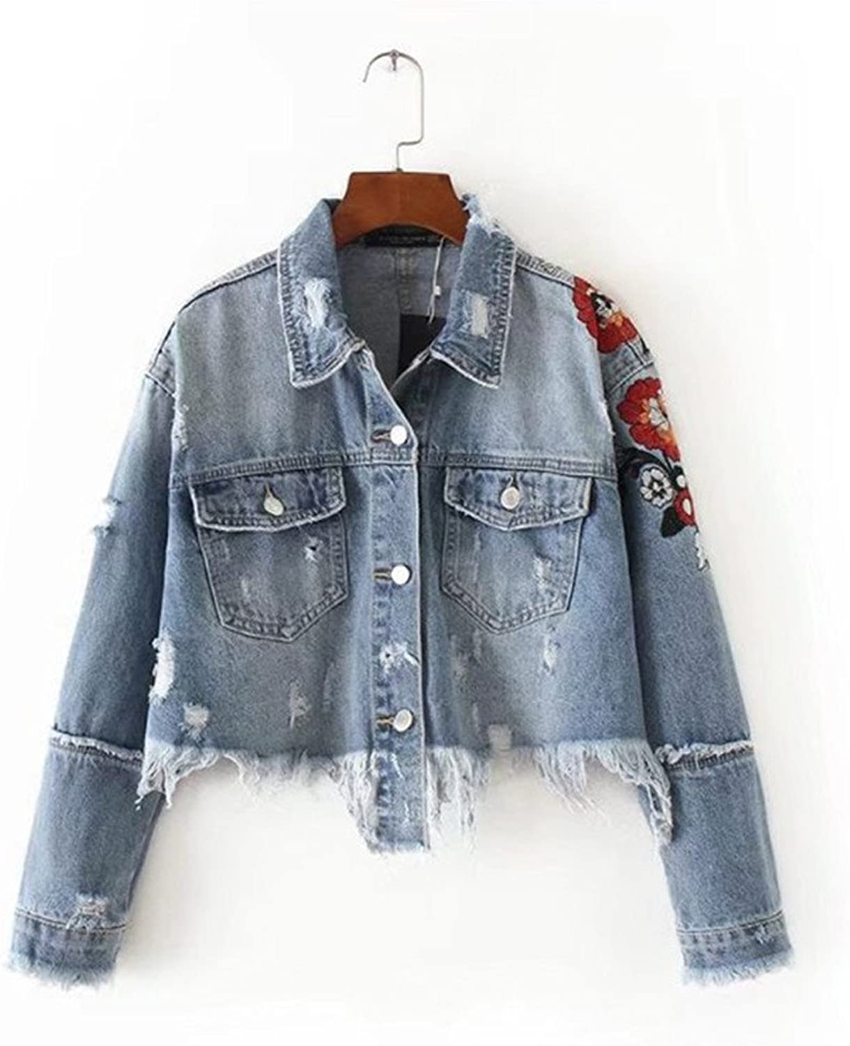 DHWMSpring And Summer New Flowers Embroidery Personality Flash Single Breasted Double Pocket Denim Jacket Female