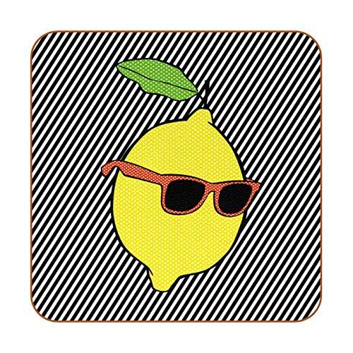 6 posavasos cuadrados de microfibra de piel de microfibra con posavasos decorativos para tipos de tazas y tazas, Pop Lemon con líneas de gafas de sol