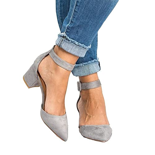 f8a5beb16a25 Womens Heeled Ankle Buckle Block Pointed Toe Cut out Pumps Sandals