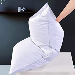2 Pack White Goose Feather Bed Pillow - 600 Thread Count Egyptian Cotton, Medium Firm,Soft Support King Size,White Solid (King:2 Pillows)