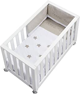 cotinfant Look Me nbsp   nbsp Co-Sleeping Cot 60 nbsp x 120 nbsp cm with Mattress and Textile White Brown