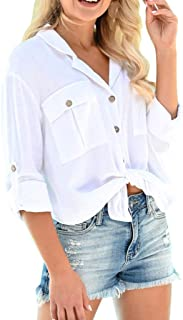 Sceoyche Women Cotton Linen Casual Solid Long Sleeve Shirt Loose Blouse Button Tops